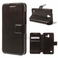 Housse etui coque portefeuille simili cuir pour Huawei Ascend Y550 + film ecran - NOIR