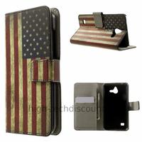 Housse etui coque portefeuille simili cuir pour Huawei Ascend Y550 + film ecran - USA
