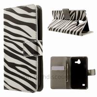 Housse etui coque portefeuille simili cuir pour Huawei Ascend Y550 + film ecran - ZEBRE