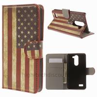 Housse etui coque portefeuille simili cuir pour LG L Bello + film ecran - USA