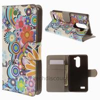 Housse etui coque portefeuille simili cuir pour LG L Bello + film ecran - FLEURS C