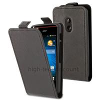Housse etui coque pochette simili cuir fine pour Acer Liquid Z200 Duo + film ecran - NOIR
