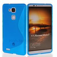Housse etui coque pochette silicone gel fine pour Huawei Ascend Mate 7 + film ecran - BLEU