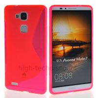 Housse etui coque pochette silicone gel fine pour Huawei Ascend Mate 7 + film ecran - ROSE