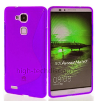 Housse etui coque pochette silicone gel fine pour Huawei Ascend Mate 7 + film ecran - MAUVE
