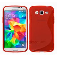 Housse etui coque pochette silicone gel fine pour Samsung G530H Galaxy Grand Prime + film ecran - ROUGE