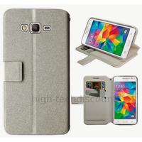 Housse etui coque pochette portefeuille pour Samsung G531H Galaxy Grand Prime VE + film ecran - BLANC