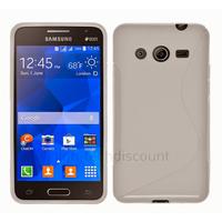 Housse etui coque pochette silicone gel fine pour Samsung G355H Galaxy Core 2 + film ecran - BLANC
