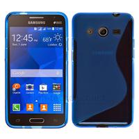 Housse etui coque pochette silicone gel fine pour Samsung G355H Galaxy Core 2 + film ecran - BLEU