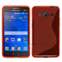 Housse etui coque pochette silicone gel fine pour Samsung G355H Galaxy Core 2 + film ecran - ROUGE