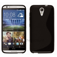 Housse etui coque pochette silicone gel fine pour HTC Desire 620 + film ecran - NOIR