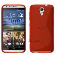 Housse etui coque pochette silicone gel fine pour HTC Desire 620 + film ecran - ROUGE