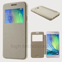 Housse etui coque pochette portefeuille view case pour Samsung Galaxy A3 + film ecran - BLANC