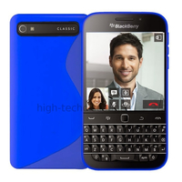 Housse etui coque pochette silicone gel fine pour Blackberry Classic + film ecran - BLEU