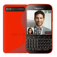 Housse etui coque pochette silicone gel fine pour Blackberry Classic + film ecran - ROUGE