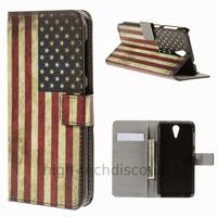 Housse etui coque pochette portefeuille PU cuir pour HTC Desire 620 + film ecran - USA