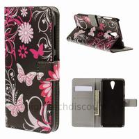 Housse etui coque pochette portefeuille PU cuir pour HTC Desire 620 + film ecran - FLEURS N