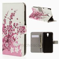 Housse etui coque pochette portefeuille PU cuir pour HTC Desire 620 + film ecran - CERISIER