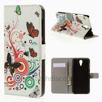 Housse etui coque pochette portefeuille PU cuir pour HTC Desire 620 + film ecran - PAPILLONS