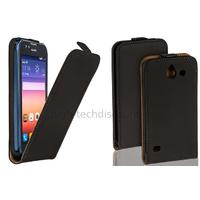 Housse etui coque simili cuir fine pour Huawei Ascend Y550 + film ecran - NOIR