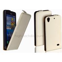 Housse etui coque pochette simili cuir fine pour Huawei Ascend G620S + film ecran - BLANC