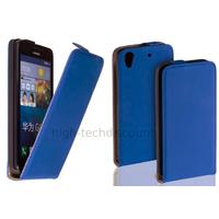 Housse etui coque pochette simili cuir fine pour Huawei Ascend G620S + film ecran - BLEU