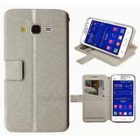 Housse etui coque pochette portefeuille pour Samsung G360H Galaxy Core Prime + film ecran - BLANC