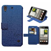 Housse etui coque pochette portefeuille pour Huawei Ascend G620S + film ecran - BLEU