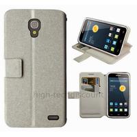 Housse etui coque pochette portefeuille pour Alcatel One Touch Pop 2 (4.5) 5042 + film ecran - BLANC