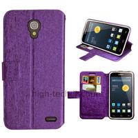 Housse etui coque pochette portefeuille pour Alcatel One Touch Pop 2 (4.5) 5042 + film ecran - MAUVE