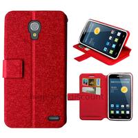 Housse etui coque pochette portefeuille pour Alcatel One Touch Pop 2 (4.5) 5042 + film ecran - ROUGE
