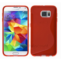 Housse etui coque pochette silicone gel fine pour Samsung G920F Galaxy S6 + film ecran - ROUGE