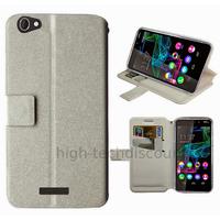Housse etui coque pochette portefeuille pour Wiko Ridge Fab 4G + film ecran - BLANC