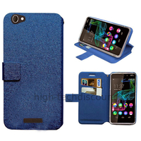 Housse etui coque pochette portefeuille pour Wiko Ridge Fab 4G + film ecran - BLEU