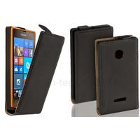 Housse etui coque pochette PU cuir fine pour Microsoft Lumia 532 + film ecran - NOIR