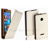 Housse etui coque pochette PU cuir fine pour Microsoft Lumia 532 + film ecran - BLANC