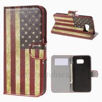 Housse etui coque pochette portefeuille PU cuir pour Samsung G920F Galaxy S6 + film ecran - USA