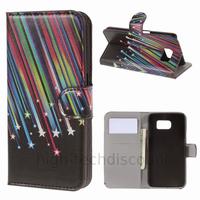 Housse etui coque pochette portefeuille PU cuir pour Samsung G920F Galaxy S6 + film ecran - ETOILES