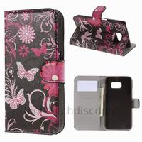 Housse etui coque pochette portefeuille PU cuir pour Samsung G920F Galaxy S6 + film ecran - FLEURS N