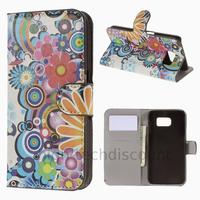 Housse etui coque pochette portefeuille PU cuir pour Samsung G920F Galaxy S6 + film ecran - FLEURS C