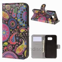 Housse etui coque pochette portefeuille PU cuir pour Samsung G920F Galaxy S6 + film ecran - PAISLEY