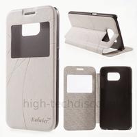 Housse etui coque portefeuille view case pour Samsung G920F Galaxy S6 + film ecran - BLANC