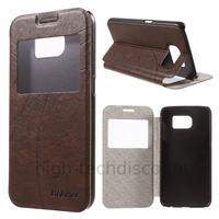Housse etui coque portefeuille view case pour Samsung G920F Galaxy S6 + film ecran - MARRON
