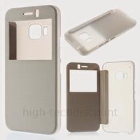 Housse etui coque pochette portefeuille view case pour HTC One M9 + film ecran - BLANC