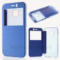 Housse etui coque pochette portefeuille view case pour HTC One M9 + film ecran - BLEU