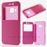 Housse etui coque pochette portefeuille view case pour HTC One M9 + film ecran - ROSE
