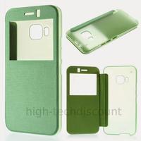 Housse etui coque pochette portefeuille view case pour HTC One M9 + film ecran - VERT