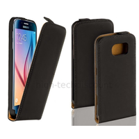 Housse etui coque pochette PU cuir fine pour Samsung G920F Galaxy S6 + film ecran - NOIR