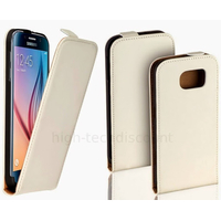 Housse etui coque pochette PU cuir fine pour Samsung G920F Galaxy S6 + film ecran - BLANC