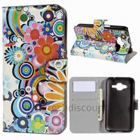Housse etui coque pochette portefeuille PU cuir pour Samsung G360H Galaxy Core Prime + film ecran - FLEURS C